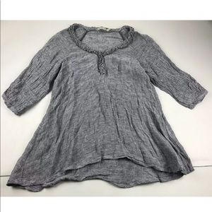Hammock & Vine Gray Linen Tunic Top SZ 14 Scoop